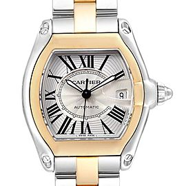 Cartier Roadster Yellow Gold Steel Automatic Mens Watch W62031Y4 Box