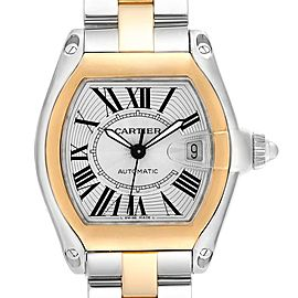 Cartier Roadster Yellow Gold Steel Silver Dial Mens Watch W62031Y4 Box