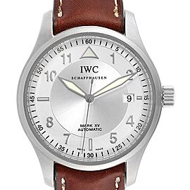 IWC Mark XV Spitfire Silver Dial Brown Strap Steel Mens Watch IW325313
