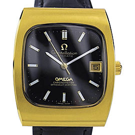 Omega Constellation 7154 Gold Plated Stainless Steel / Leather with Black Dial Vintage 33mm Mens Watch