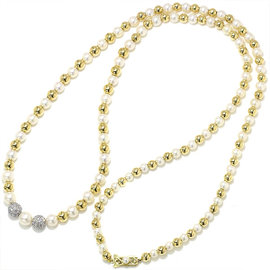 Mikimoto 14K White & Yellow Gold Akoya Pearl Diamond Necklace