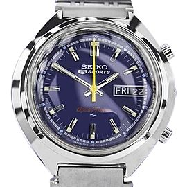 Seiko 5 SpeedTimer Stainless Steel Blue Dial Automatic 39mm Mens Watch 1970s