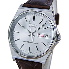 Seiko Marvel Stainless Steel & Leather Silver Dial Quartz 35mm Mens Watch 1980s
