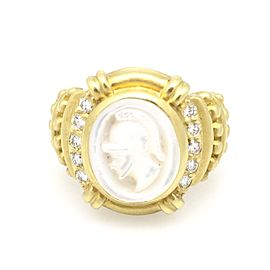 Judith Ripka 18K Yellow Gold with Mother of Pearl & Diamonds Intaglio Ring Size 5