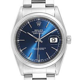 Rolex Datejust Blue Dial Oyster Bracelet Steel Mens Watch 16200