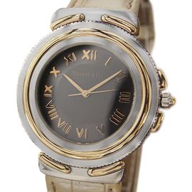 Tiffany & Co. Intaglio 18K Gold and Stainless Steel / Leather 35mm Mens Watch