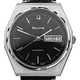 Bulova Stainless Steel / Leather Automatic Vintage 35mm Mens Watch