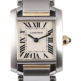 Cartier Tank Francaise 2384 Two Tone 18K Yellow Gold /Stainless Steel White Roman Dial Quartz 26mm Womens Watch