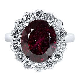 14K White Gold 1.37ct Diamond Rhodolite Garnet Halo Ring Size 6.25