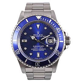 Rolex Submariner 16610 Stainless Steel Blue Diamond Dial 40mm Mens Watch