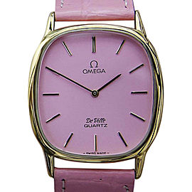 Omega Deville 1365 Gold Plated Stainless Steel & Leather Quartz 30mm Unisex Watch 1980s