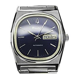 Bulova Day Date Automatic Stainless Steel Swiss Made 36mm Mens Watch c1970