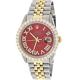 Rolex Datejust 16013 18K Yellow Gold & Stainless Steel Mother of Pearl Dial wDiamonds 36mm Unisex Watch