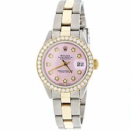 Rolex Datejust 16018 18K Gold/Stainless Steel Pink Dial w/Diamonds 26mm Womens Watch
