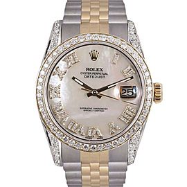 Rolex Datejust Stainless Steel/18K Yellow Gold wDiamonds White Mother Of Pearl Dial 36mm Mens Watch