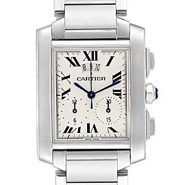 Cartier Tank Francaise Chrongraph Steel Mens Watch W51024Q3