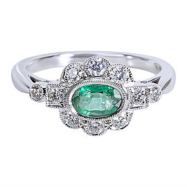 18K White Gold with 0.32ct Diamond & 0.43ct Emerald Vintage Style Ring Size 6.75