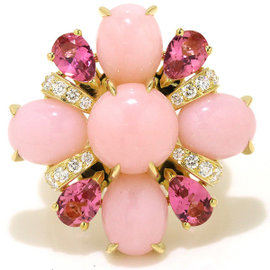 Chanel 18K Yellow Gold with Pink Opal, Tourmaline and Diamond Baroque Ring Size 6.5