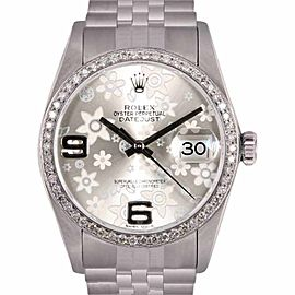 Rolex Datejust Stainless Steel & 18K White Gold wDiamond Silver Floral Dial Automatic 36mm Mens Watch