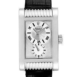 Rolex Cellini Prince White Gold Silver Dial Black Strap Mens Watch 5441