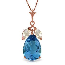 14K Solid Rose Gold Necklace with Blue Topaz & Rose Topaz