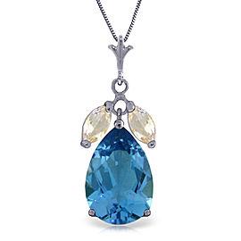 6.5 CTW 14K Solid White Gold Necklace Blue Topaz White Topaz