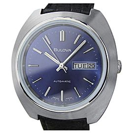 Bulova N6 Stainless Steel & Leather Automatic Vintage 39mm Mens Watch 1970s
