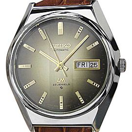 Seiko Lord Matic 5606 8110 Stainless Steel & Leather Automatic 37mm Mens Watch 1970s