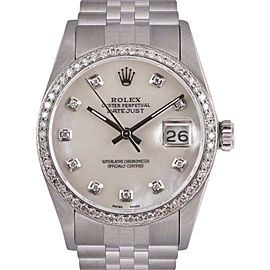 Rolex Datejust Stainless Steel Custom White Mother of Pearl Diamond Dial 36mm Unisex Watch