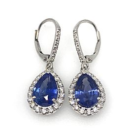 18K White Gold with Sapphire and Diamond Drop Earrings