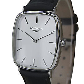 Longines Stainless Steel & Leather Manual Vintage 29mm Men's Watch 1980s