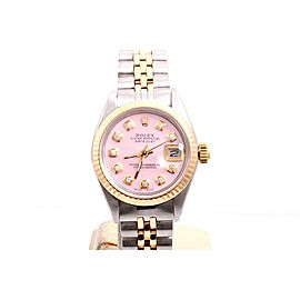 Rolex Datejust 2tone 14K Yellow Gold And Stainless Steel Custom Pink Diamond Dial 26mm Womens Watch