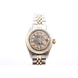 Rolex Datejust 2tone 14K Yellow Gold And Stainless Steel Tahitian Mother Of Pearl String Diamond Dial 26mm Womens Watch