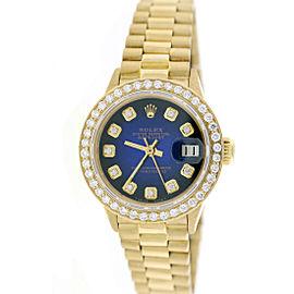 Rolex Datejust 18K Yellow Gold Blue Vignette Dial & Diamond Bezel 26mm Womens Watch