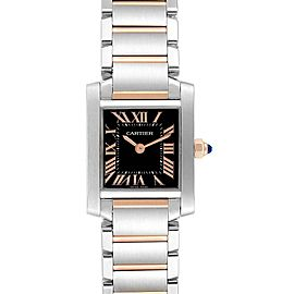 Cartier Tank Francaise Steel Rose Gold Black Dial Ladies Watch W5010001