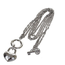 Givenchy Silver Tone Hardware Padlock key Motif Chain Necklace