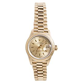 Rolex Datejust President 18K Yellow Gold with Champagne Stick Marker Dial 26mm Womens Watch
