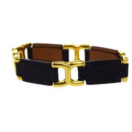 Hermes Gold Tone Hardware & Leather Logos Bangle Bracelet
