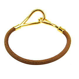 Hermes Gold Tone Hardware & Leather Logo Jumbo Hook Bangle Bracelet