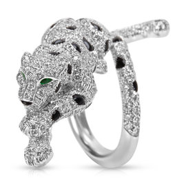 Cartier White Gold Black Onyx & Emeralds 2.60ct Diamond Panther Ring Size 3.5