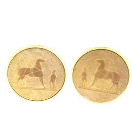 Hermes Gold Tone Hardware Paris Logos Button Clip-On Earrings