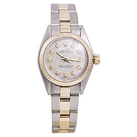 Rolex Oyster Perpetual Yellow Gold / Stainless Steel with Mother Of Pearl Diamond Dial 24mm Womens Watch