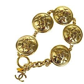 Chanel CC Logos Gold Tone Hardware Chain Bracelet