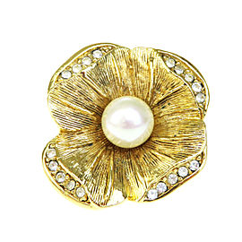 Christian Dior Gold Tone Hardware Rhinestone Faux Pearl Pin Brooch