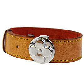 Louis Vuitton Silver Tone Hardware & Leather Good Luck Bracelet