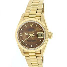 Rolex Datejust 69178 18K Yellow Gold & Wooden Dial 26mm Womens Watch