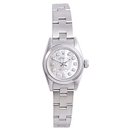 Rolex Oyster Perpetual Stainless Steel with Mother of Pearl Diamond Dial 24mm Womens Watch