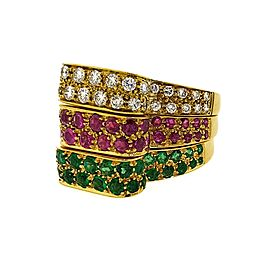 18K Yellow Gold Emerald Ruby 3.00ctw Diamond Three Band Cocktail Ring Size 7.25