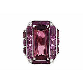 Platinum 18K White Gold Pink Tourmaline Sapphire Ruby Diamond Ring Size 6.25