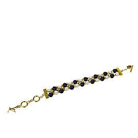 Louis Vuitton Gold Tone Hardware & Rhinestone Faux Pearl Bracelet